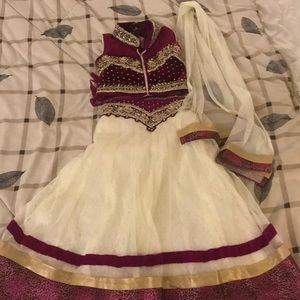 Gorgeous velvet and bet lengha for girls. New